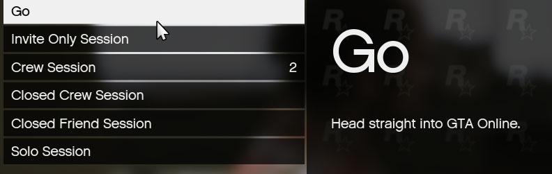 GTA Online Session Options