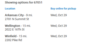 Walmart in store pick up dates