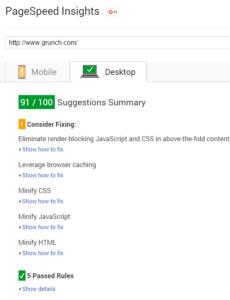 Geek Storage Google PageSpeed Rating