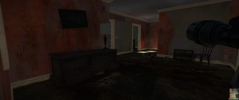 Miscreated - Looting a house - very dark other than the sunlight shining in through window, flash light is very helpful