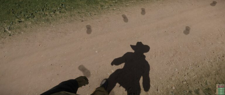 Foot prints match your steps, whether you side step, walk backwards, or what. Also a glimpse at the nice lighting and shadows in the game.