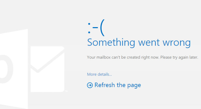 Outlook.com - Something Went Wrong